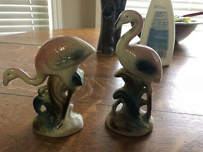Two Hand Painted 1950s Japan Porcelain Flamingos