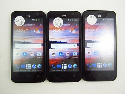 Lot of 3 ZTE Overture 2 Z813 Cricket Check IMEI Good Condition 3-1427