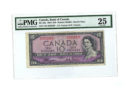 1954 $10 CANADA PMG 25 DEVIL'S FACE BC-32a BANKNOTE RARE S/N C/D 3532423