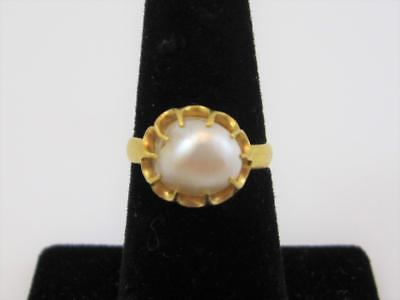 Chinese 18K Yellow Gold & 9mm Baroque Pearl Cocktail Ring Size 6.5