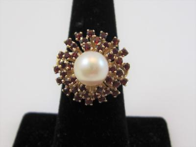 14K Yellow Gold Garnet & 9 MM Pearl Beehive Cocktail Ring Size 6.75