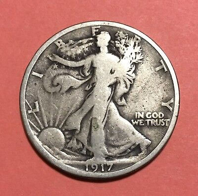 1917-S Walking Liberty Half Dollar,Better Date & Grade