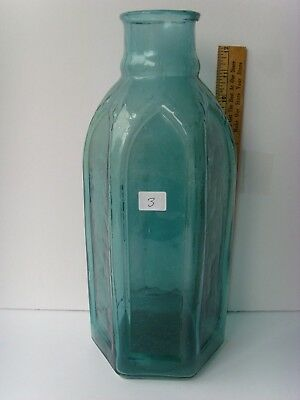 """Antique Rare Color Cathedral Pickle Bottle 6 sided 13"""" tall ~1860-1870 46/3"""