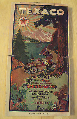 "VTG 1928 Advertising TOUR Maps~California~""TEXACO""~Amazing Graphics/COLOR~"