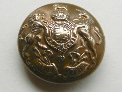 Antique Vintage Brass Livery or Crest Button Lion and Unicorn