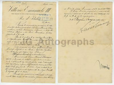 Benito Mussolini and Vittorio Emanuele III - Autographed 1935 (DS) Document