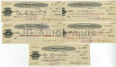 Fred Vinson - Chief Justice of the Supreme Lot of 5 Autographed Canceled Checks