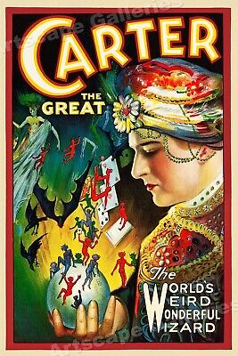 """""""Carter the Great"""" 1920s Classic Vintage Style Magician Poster - 36x54"""