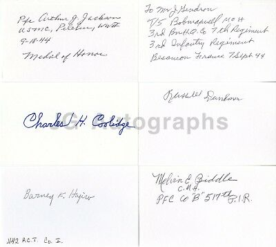 WWII Medal of Honor Recipients - Collection of 6 Autographed 3x5 Cards
