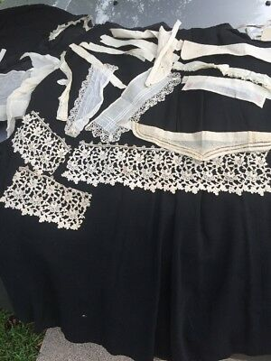 Antique victorian lace collars And Lace Scraps Lot
