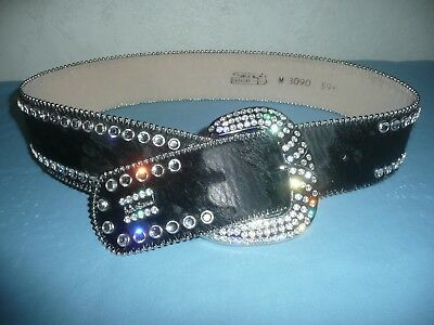 BB SIMON Black Pony Hair Cowhide Leather Swarovski Crystal Western Belt Medium