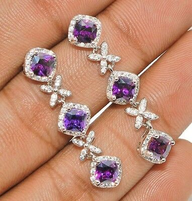 4CT Amethyst & White Topaz 925 Solid Sterling Silver Earrings Jewelry