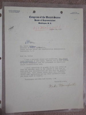 Mike Mansfield Post Ww2 1946 Signed Congressional Letter Regarding Unrra