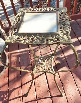 Antique Victorian Style 2 Tier Ornate Brass & Marble Plant Stand w/Cabriole Legs