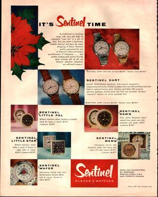 1954 Sentinel Watch and Clock It's Sentinel Time Full Page Vintage Print Ad 404