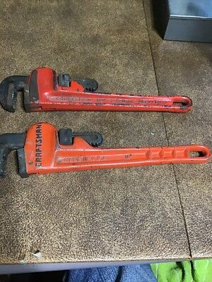 "Two Vintage Heavy Duty 10"" Pipe Wrenches, Craftsman, Ridgid"