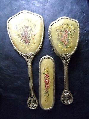 Antique Victorian English Signed Petit Point Fine Embroiderd Filigree Vanity Set