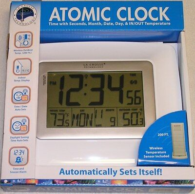 LaCrosse WS-8119U-IT-W Atomic Clock with Seconds, Month, Date, Day In/Out Temp