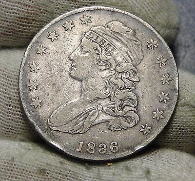 1836 Capped Bust Half Dollar 50 Cents - Nice Coin Free Shipping  (5859)