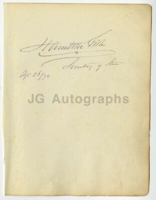 Hamilton Fish - 16th Governor of New York from 1849-1850 - Autograph from 1872