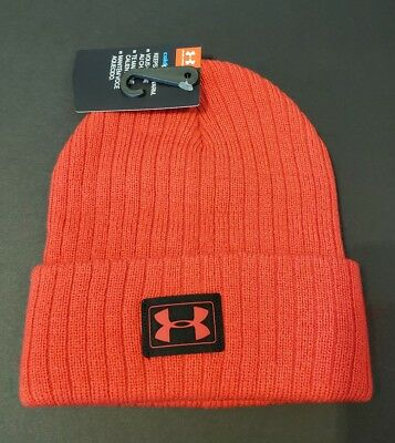 NEW Under Armour Boys Red Ribbed Knit Hat One Size.