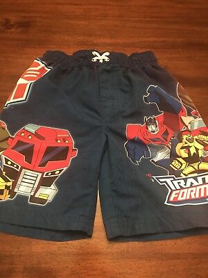 Transformers Animated Boys Blue Swim Trunks Suit Size Extra Small 4–5