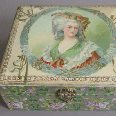 Antique CELLULOID Vanity Trinket Box French PRINCESS LAMBALLE Crown of ROSES