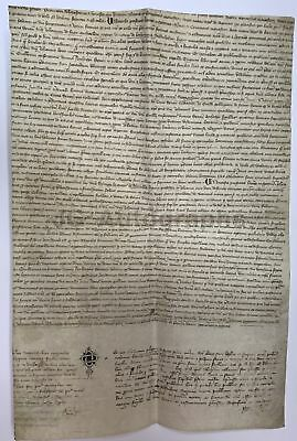 """1355 - 600+ Year Old Original French Antique Doc. - ID as """"Paris"""" 12 x 18 Inches"""