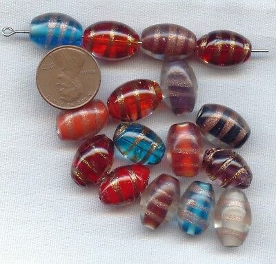 12 VINTAGE COPPER SPIRAL DRIZZLE ASSORTED COLOR GLASS 16x11mm. OVAL BEADS 64