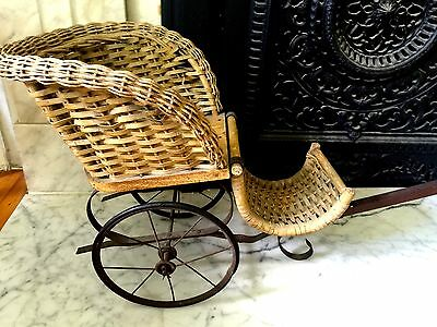 18th C. WICKER PULL-CARRIAGE  CART DOG/Doll!