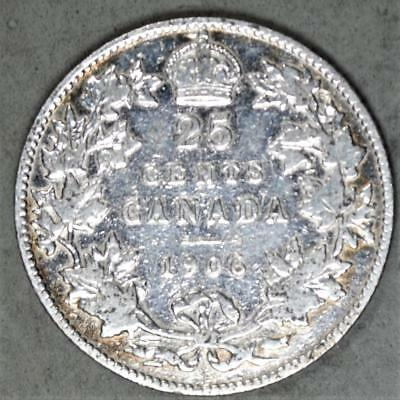 Canada 1906 25 Cents Silver Coin
