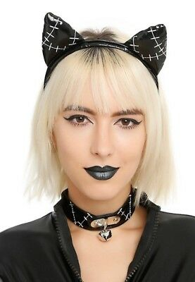 NWT Black Patent Leather Cat Ears and Choker  Instant Costume add catsuit makeup