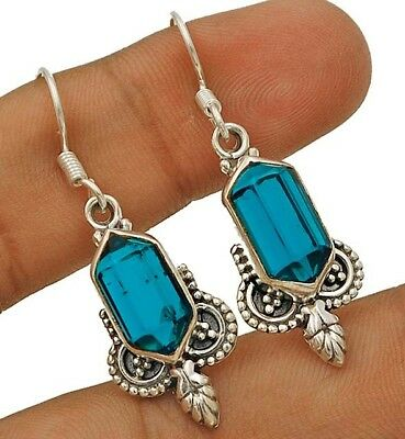 10CT Apatite 925 Solid Genuine Sterling Silver Earrings Jewelry 1 2/3'' Long