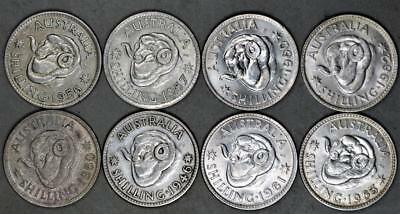 Australia Shilling Lot of 8 Silver Coins