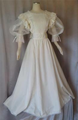 VICTORIAN Titantic Vintage 1980s LACY IVORY TAFFETA BRIDAL WEDDING GOWN DRESS