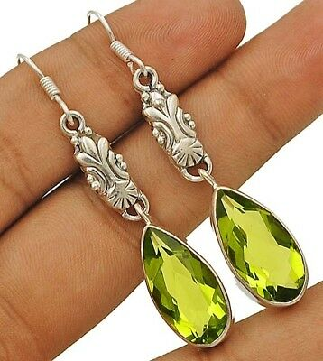 14CT Peridot 925 Solid Genuine Sterling Silver Earrings Jewelry 2 1/4'' Long