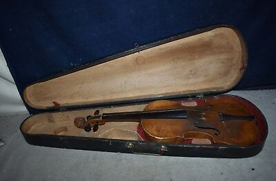 Rare! Antique 19Th Century 4/4 Violin - With Early Carry Case