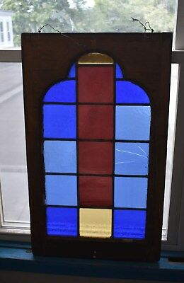 Beautiful Vintage Antique Stained Glass Window - Heavy Early Framed