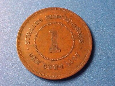 Straits Settlements 1 Cent 1907 Edward Vii Nice Detail (Some Verdigris)