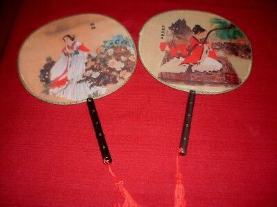 Vintage Set 2 Vintage Asian Handpainted Stretched Silk Hand Fans Bamboo Handles