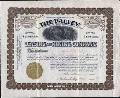 Valley Leasing And Mining Co Of Colorado, 1903, Uncancelled Stock Certificate