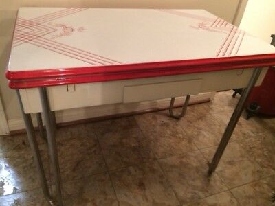 Vintage Red & White 1940-1950's Metal Enamel Top Kitchen Table - inc 2 Chairs