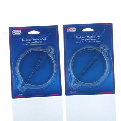 Lot of 4 Stainless Steel Egg Rings Round Mold Kitchen Tool