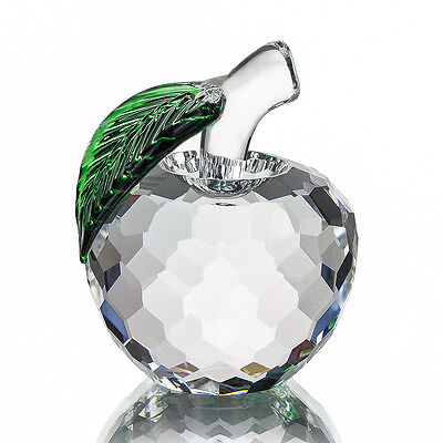 Clear Faceted Glass Crystal Apple Figurine Paperweight Wedding Lady Gift 40mm