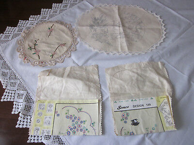 Four Pure Linen Doilies With Traced Designs To Embroider