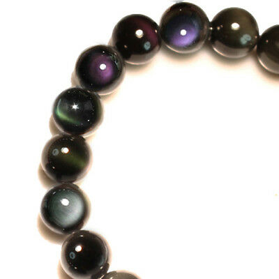 119.2Ct 100% Natural Mexican Rainbow Obsidian Bead Bracelet BROb649