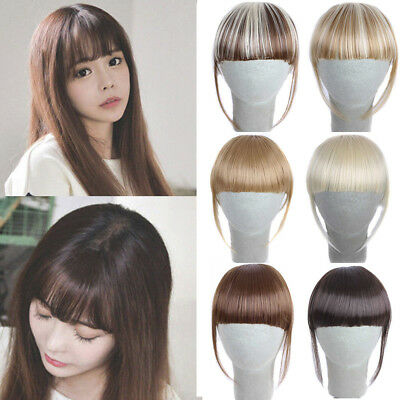 Fashion Pretty Girls Clip On Clip In Front Hair Bang Fringe Hair Extension Piece