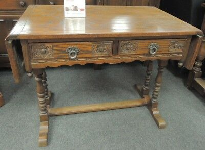 Vintage OLD CHARM Solid Oak Dark Wood Tudor Style Drop Leaf Table - K22