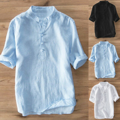 Mens Short Sleeve Casual Shirt Solid Vintage Tops Tees Blouse Button Up Pullover