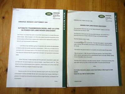 Land Rover Discovery I 3.9 V8 & automatic press release, 1993, excellent +extra